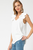 Riley Ruffle Blouse - boutique fashion - The Girls In Grey