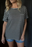 Brooklyn Striped Pocket Tee - boutique fashion - The Girls In Grey