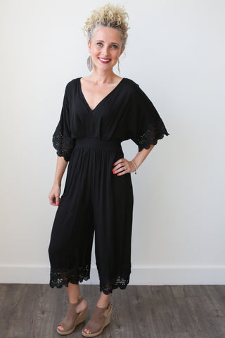 Julia Black Crochet Detail Jumpsuit - boutique fashion - The Girls In Grey