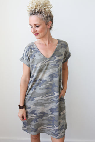 Kit Camo Dress - boutique fashion - The Girls In Grey