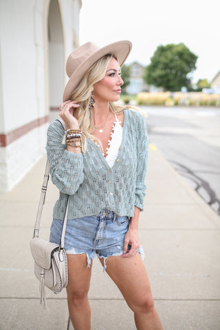 Paige Crochet Sweater - boutique fashion - The Girls In Grey