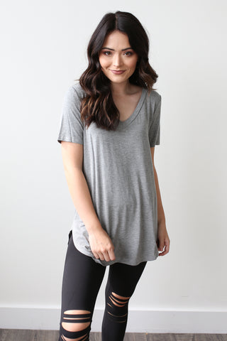 Brooke V-Neck Tee Grey