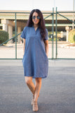 Tase Washed Collared Shirt Pocket Dress - boutique fashion - The Girls In Grey