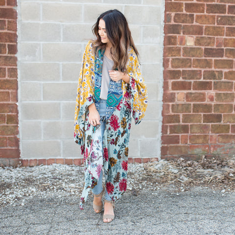 Bardot multi color kimono - boutique fashion - The Girls In Grey