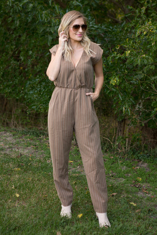 Tallulah Stripe Jumpsuit - boutique fashion - The Girls In Grey