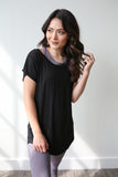Elena Cap Sleeve Top Black