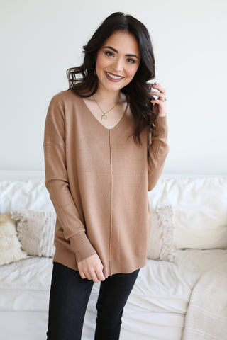 Whitney Front Seam Sweater Camel