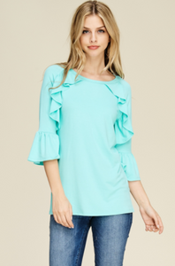 Bell Sleeve Ruffle Top
