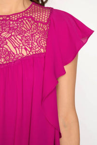 Ruffle Sleeve Blouse with Lace