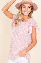 Polka Dot Short Sleeve Ruffle Top