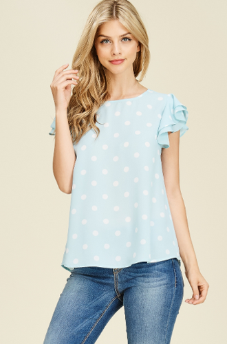 Ruffle Sleeve Polka Dot Top