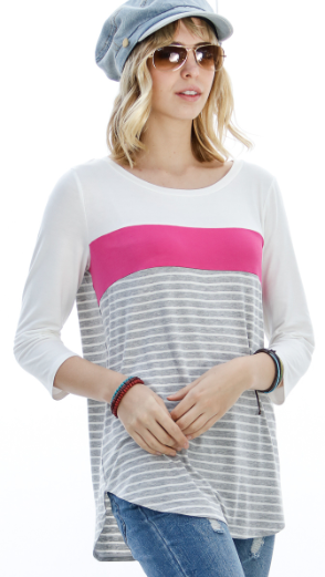 3/4 Sleeve Color Block Top