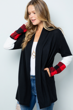 Plaid Sleeve Cardigan