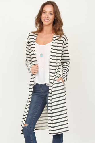 Long Stripe Open Cardigan
