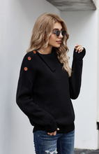 Buttoned Cowl Neck Sweater