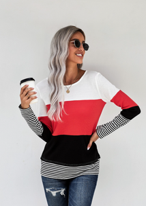 Color Block Splicing Stripe Top