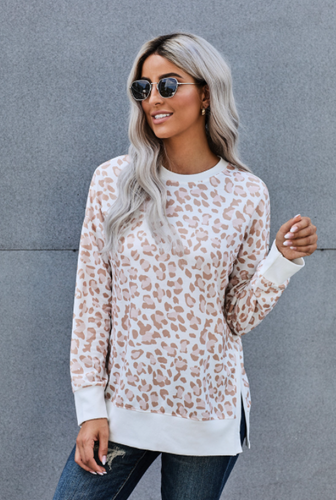 Leopard Side Slit Top