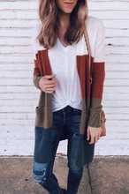 Open Front Color Block Cardigan
