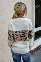Round Neck Leopard Stripe Sweater