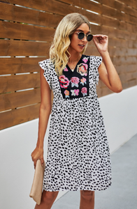Embroidered Floral Leopard Dress