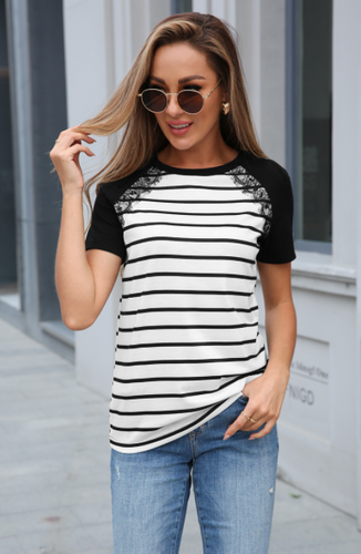 Stripe Top with Lace