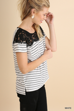 Striped Top with Lace Neckline