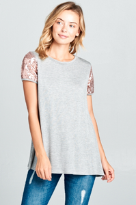 Solid Jersey Top with Sequin Sleeves