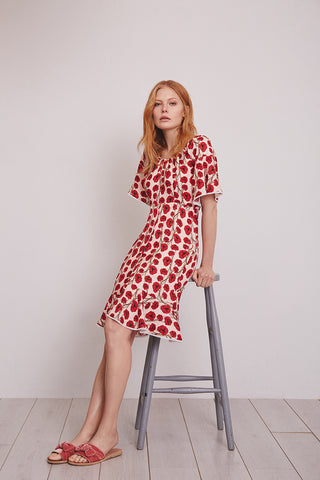 Red poppy print floral Lizzie dress, London Tea Dress Company