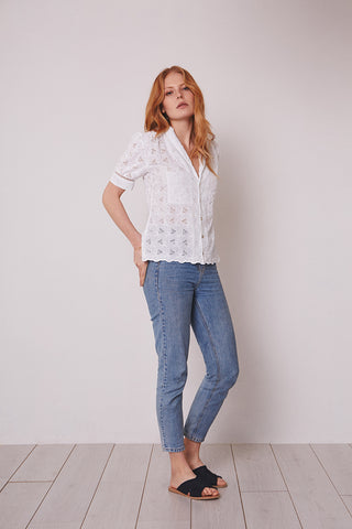 White broderie anglaise blouse
