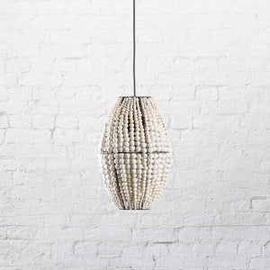 kanju interiors barrel pendant lighting hanging light mud clay bead hand made dyed colorful neutral decor accent lights simple luxury
