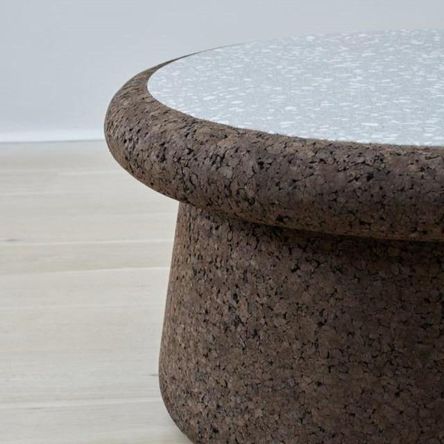 kanju interiors cork and terrazzo low cocktail table dark light stone inlay durable sustainable mid century modern statement coffee indoor outdoor