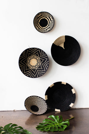 kanju interiors geometric statement platter black natural traditional modern woven grass weave coil stitch zulu basket decorative functional storage decor minimal decorative vessel