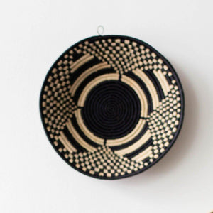 kanju interiors geometric clover bowl black natural traditional modern woven grass weave coil stitch zulu basket decorative functional storage decor minimal decorative vessel