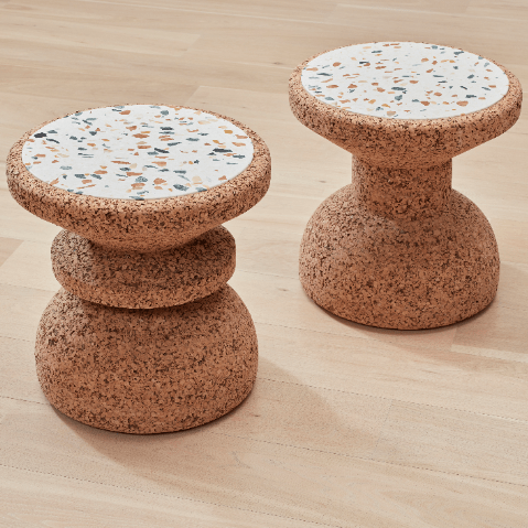 kanju interiors cork recycled stool side table decor luxury furniture modern colorful terrazzo stone durable