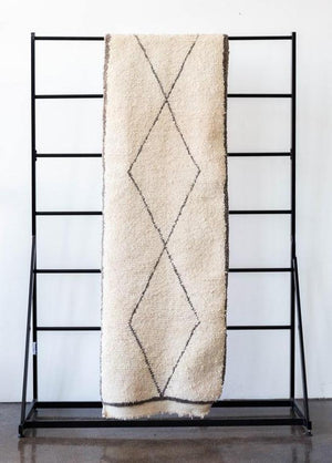 kanju interiors gray diamond beni berber runner moroccan one of a kind ouarain sophisticated simple tribal design geometric organic mid century modern hand woven vintage plush