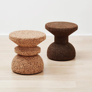 kanju interiors cork stool side table recycled luxury furniture decor modern durable dark cork light cork