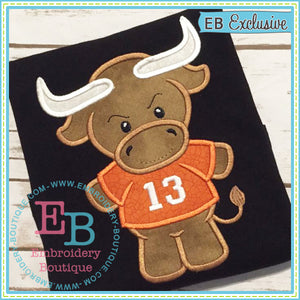 Boy Longhorn Mascot Applique, Applique