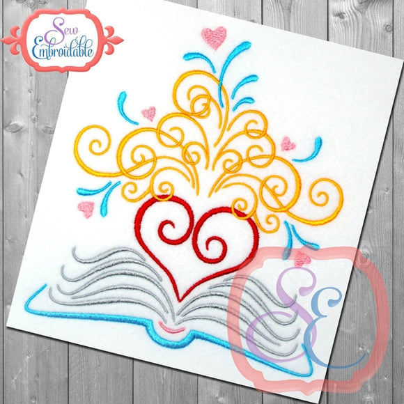 Heart Flourish Book Design, Applique