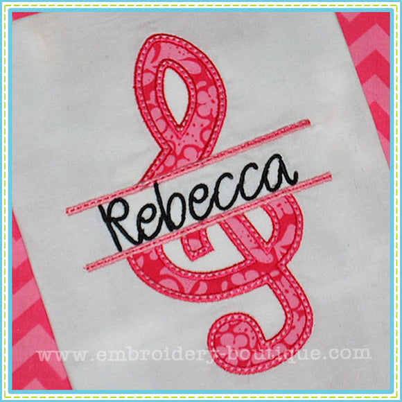 Split Treble Clef Applique, Applique