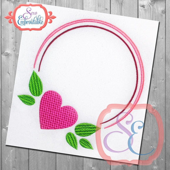 Circle Heart Frame, Embroidery
