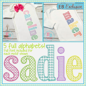 Sketch Lowercase Set - Motif Fill - 5 FULL Alphabets - embroidery-boutique