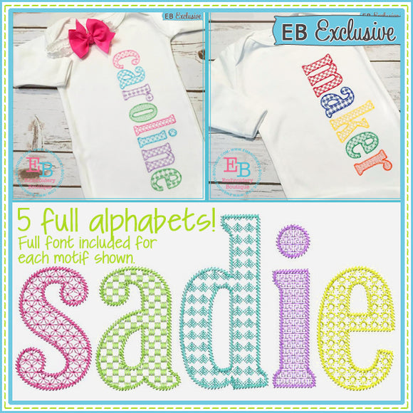 Sketch Lowercase Set - Motif Fill Embroidery Font- 5 FULL Alphabets, Embroidery Font