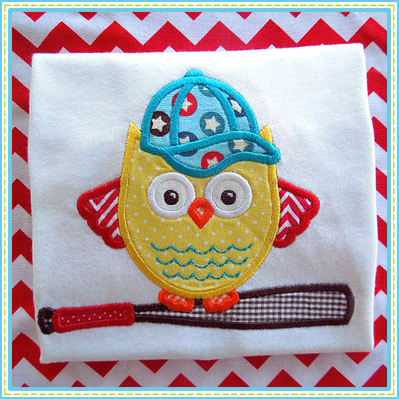 Baseball Owl Applique, Applique