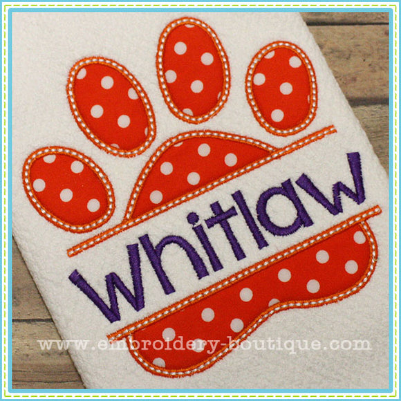 Split Paw Print Applique, Applique