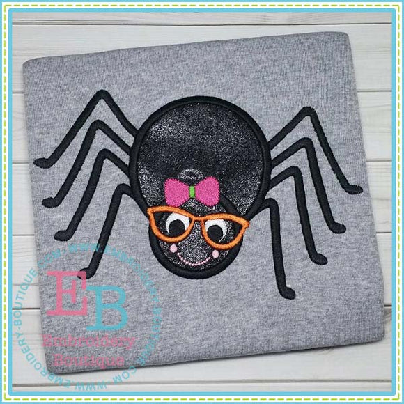 Spider Girl with Glasses Applique, Applique