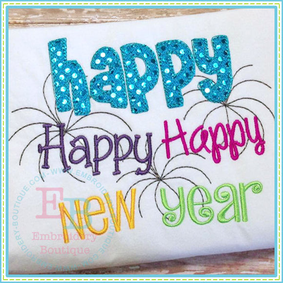 Happy Happy Happy New Year - Scribble Style, Applique