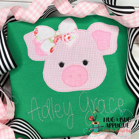 Pig Bow Bean Stitch Applique Design