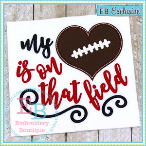 My Heart on Field Football Applique - embroidery-boutique