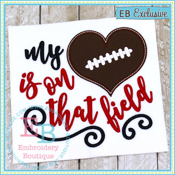 My Heart on Field Football Applique, Applique