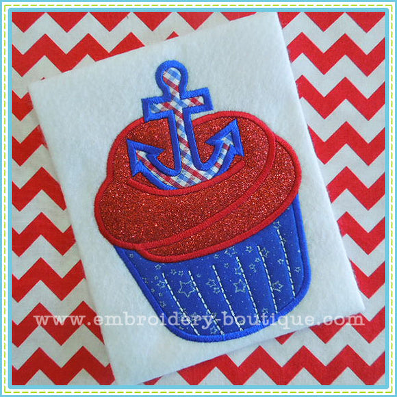 Anchor Cupcake Applique - embroidery-boutique